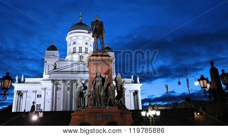 Monument To Russian Emperor Alexander Ii On The Senate Square And Cathedral Of St. Nicholas (cathedr