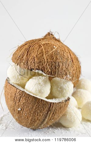 Fresh Coconut And Coconut Cookies On White