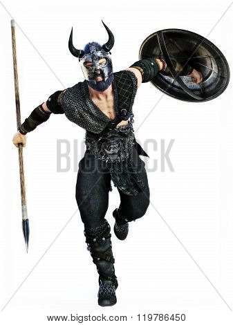 Viking attack with spear and shield on an isolated white background.Photo realistic 3d model scene.