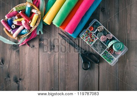 Scissors, Bobbins With Thread, Buttons And Needles