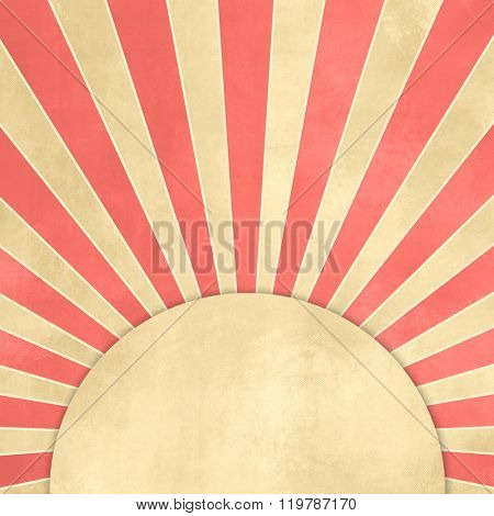 Red starburst retro with tan round banner