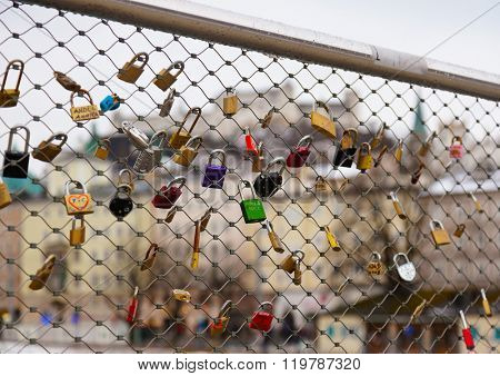 Love locks in Salzburg Austria - wedding background