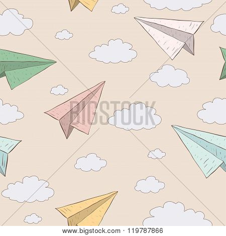 Cartoon paper plane in the sky. Vector seamless baby pattern. Texture paper plane on vanilla background