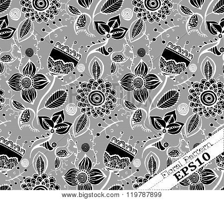Repeating Floral Background Pattern.grey And Black