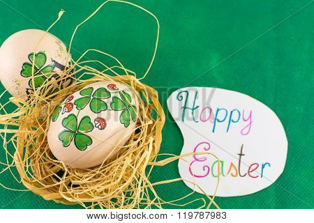 St. Patrics Day Inspired Easter Eggs Happy Easter Card