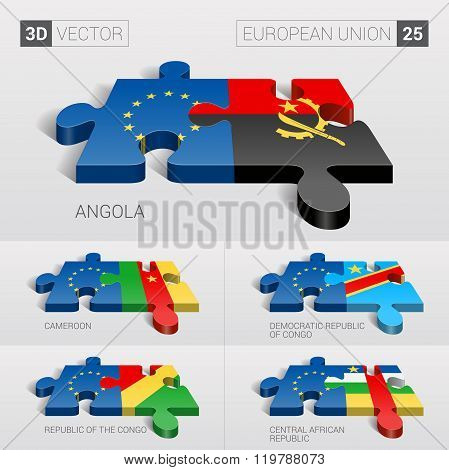 European Union Flag. 3d vector puzzle. Set 25.