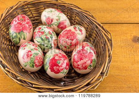 Decorated Easter Eggs In A Basket