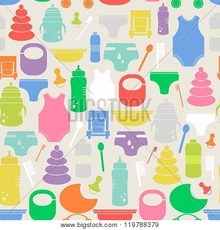 Colorful seamless pattern with cartoon baby goods. Cute vector texture with different baby items. Ready design for baby products, clothes, wrapping paper, baby store, etc.