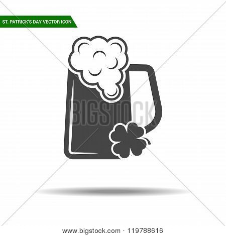 St Patricks Day beer icon flat vector.