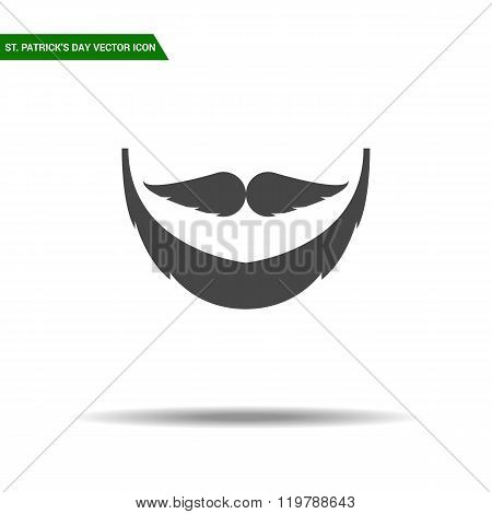 St Patricks Day beard icon flat