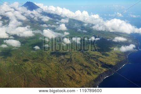 Volcano Of Fogo And Clouds