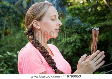 Profile Of Woman With Incense