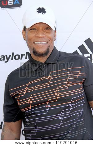 D.L. Hughley arrives at the inaugural Stephen Bishop celebrity golf invitational benefiting R.A.K.E. on Feb. 15, 2016 at Calabasas Country Club in Calabasas, CA.