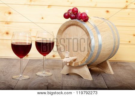 Still Life With Red Wine And Wooden Cask.