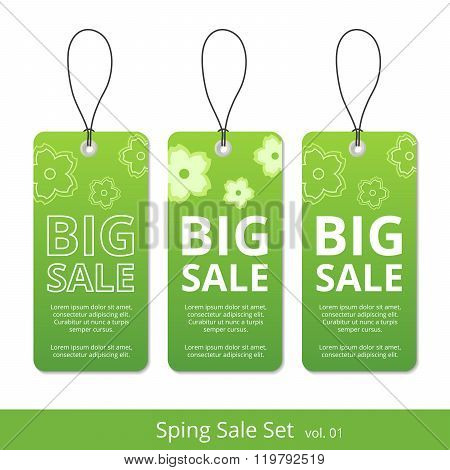 Big spring sale set. label with a rope for promotions