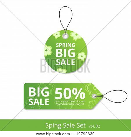 New set spring sale labels with a rope for promotions