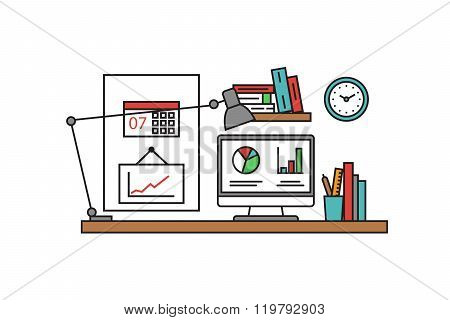 Thin line flat design of workplace tools and equipmen. Modern vector illustration concept, isolated