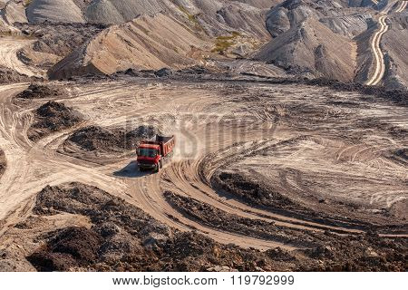 Excavation site with construction machine