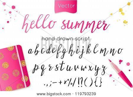 Hand drawn alphabet letters.