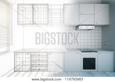 Design Of New White Kitchen Interior With Blueprint, 3D Render