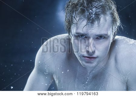 Strong man in drops of water