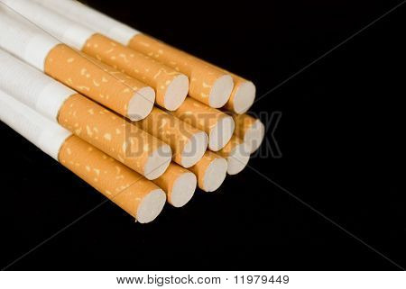 Cigarettes On A Black Background