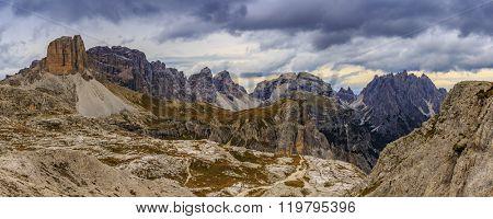 Cadini di Misurina range in National Park Tre Cime di Lavaredo. Dolomites, South Tyrol. Location Auronzo, Italy, Europe - panorama