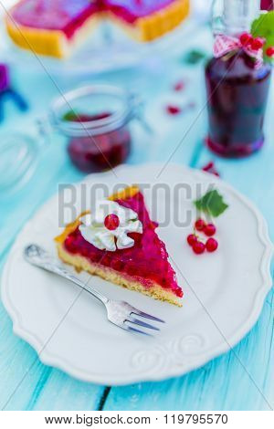 Sponge cake with jelly and redcurrant
