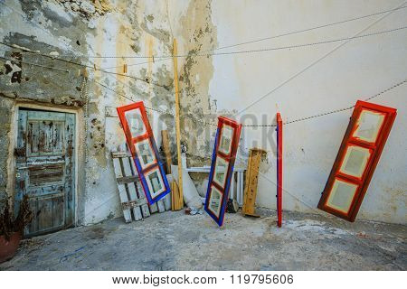 Colorful door in the carpentry workshop