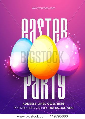 Creative glossy colorful Eggs decorated Pamphlet, Banner or Flyer design for Easter Party celebration.