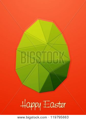 Creative green origami Egg on shiny background for Happy Easter celebration.