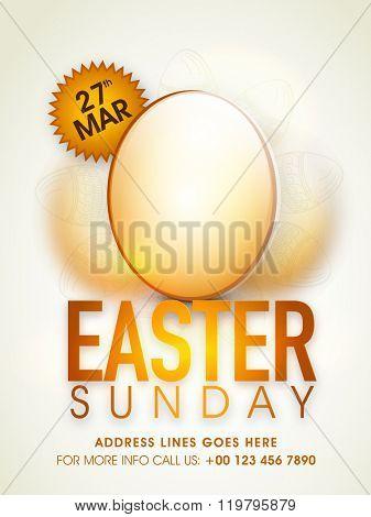 Glossy Eggs decorated Pamphlet, Banner or Flyer design for Easter Sunday celebration.