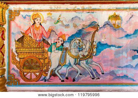 Ornate Religious Tapestry Inside Li Thi Miew Shrine