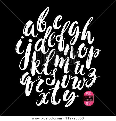 Hand Made Brush And Ink Typeface. Handwritten Retro Textured Grunge Alphabet