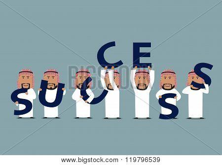 Arab businessmen composing word Success