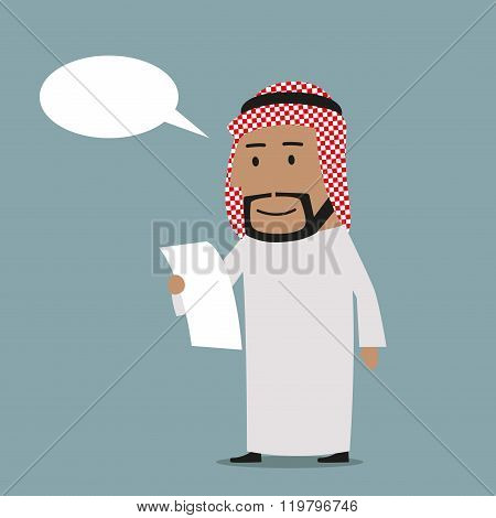Pensive arab businessman reading contract