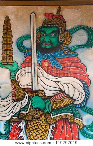Fierce Character On A Religious Painting Inside Li Thi Miew Shrine