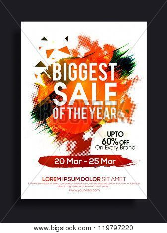 Biggest Sale of the Year, Flyer, Banner or Pamphlet with 60% discount offer for limited time only.