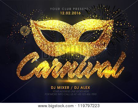 Carnival Party celebration elegant Flyer, Banner or Pamphlet with Mask.