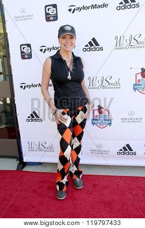 Paula Trickey arrives at the inaugural Stephen Bishop celebrity golf invitational benefiting R.A.K.E. on Feb. 15, 2016 at Calabasas Country Club in Calabasas, CA.