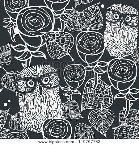 Seamless black and white pattern with cute birds and lovely flowers.