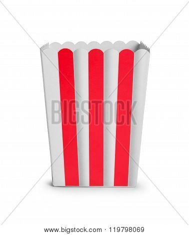 Empty Cardboard Popcorn Cup Isolated On White Background