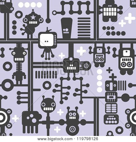 Creative simple background with small robots.