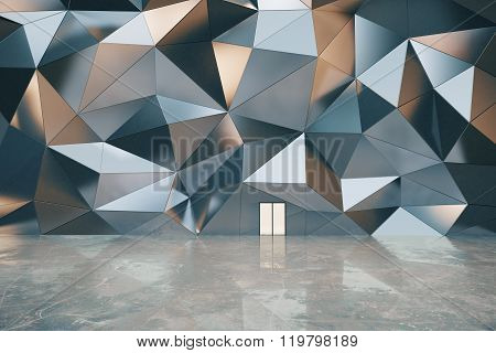 Abstract Exterior With 3D Graphite Wall, Concrete Wall And White Doors, 3D Render