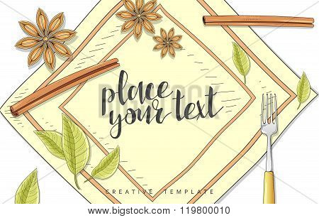 Beauty background with spice, cinnamon, bay leaf anise in sketch