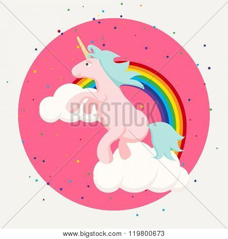 Cute Happy Unicorn And Rainbow Clouds Tshirt Design.