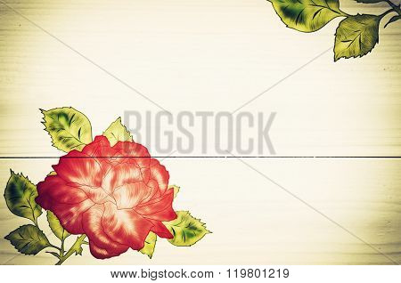 Wooden Background With Rose