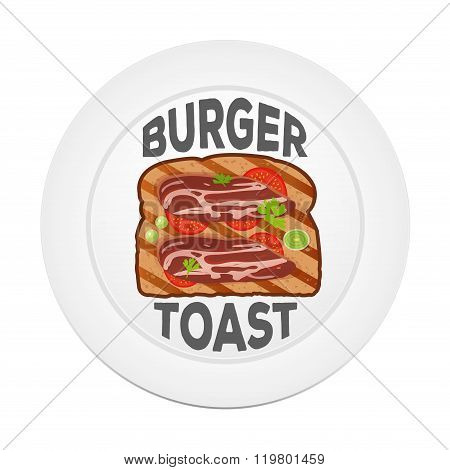 Vector burger toast icon. Sandwich in a flat style on a white plate. Toast illustration with bacon,