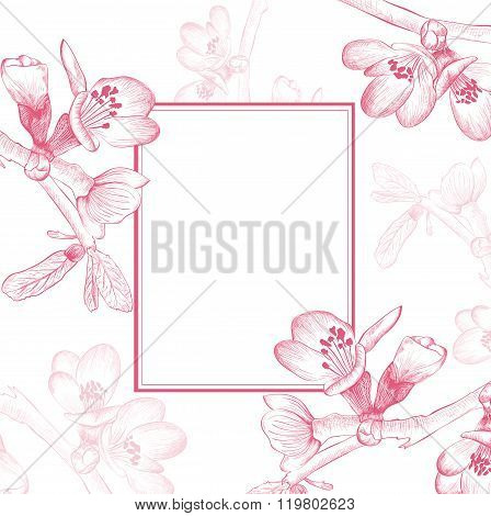 Vintage Cherry Blossom Flower Border