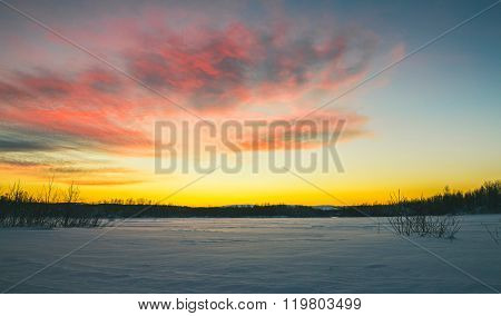 Sunset In Winter Tundra.